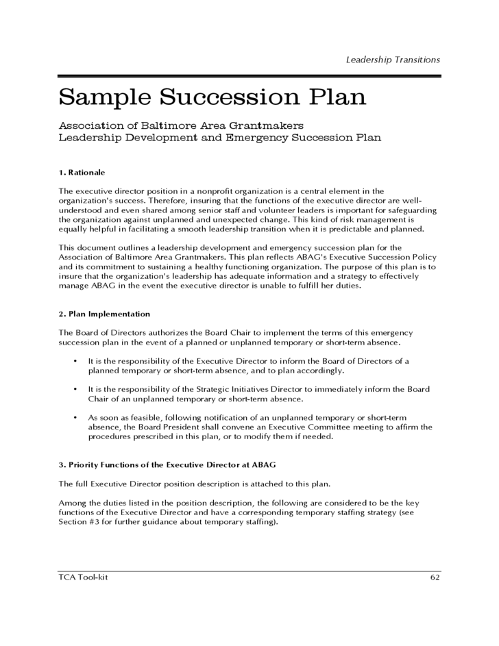 Sample Succession Plan Free Download