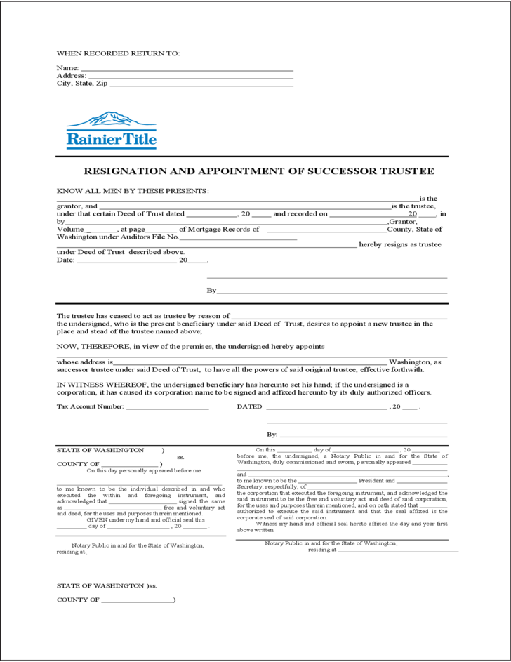 Resignation and Appointment of Successor Trustee Form Free Download