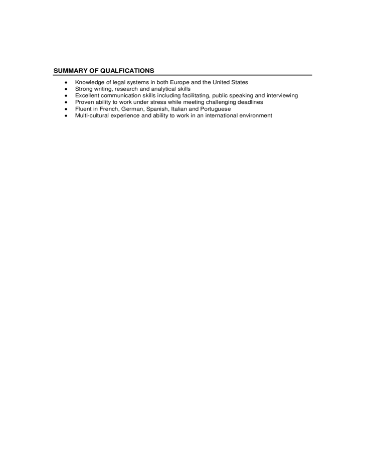Summary of Qualifications - Northeastern University Free Download