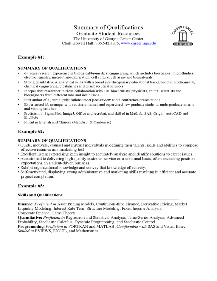 summary of qualifications sample template free download