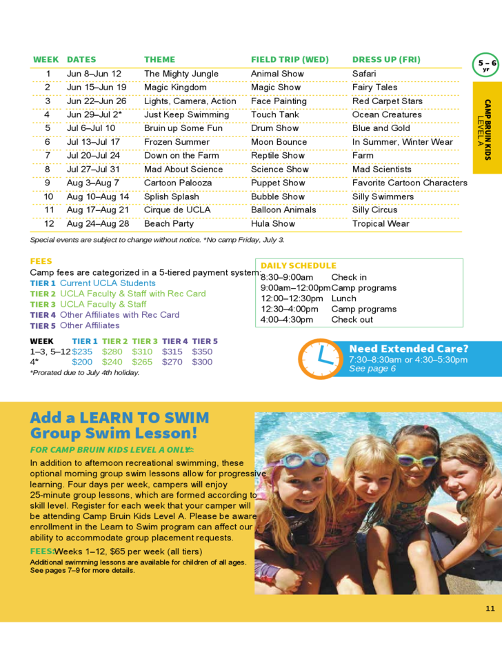 summer camp brochure template - summer camps 2015 brochure ucla recreation free download