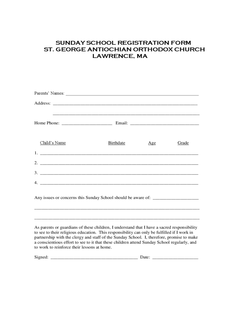 Sunday School Registration Form 2 Free Templates in PDF Word – Enrolment Form Template