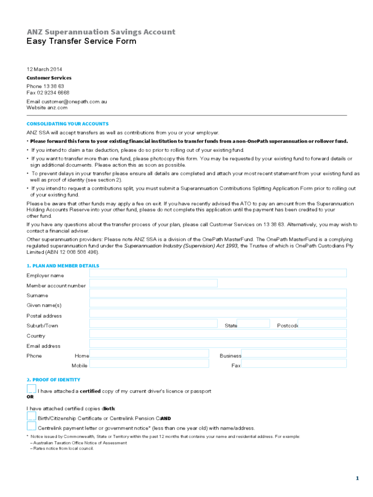 ANZ Superannuation Savings Account Easy Transfer Service Form