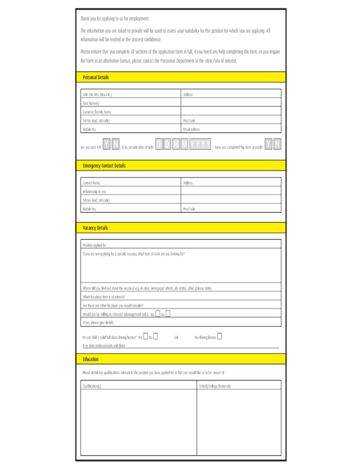 Morrisons Job Application Form Free Download