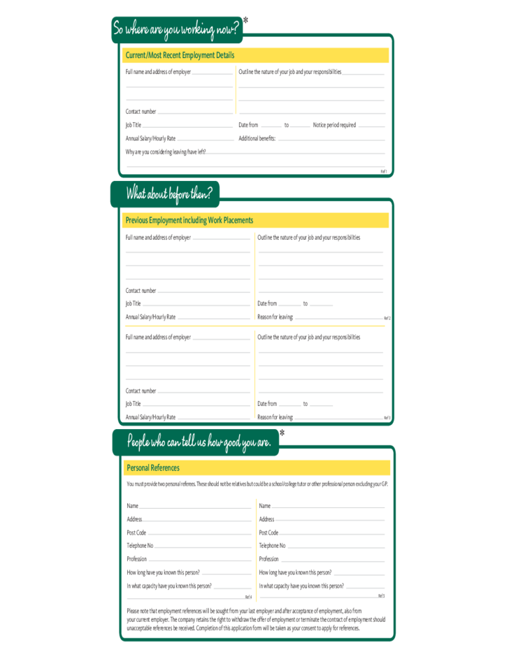 Morrisons Fresh Job Application Form Free Download