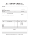 Houchens Industries Application for Employment Form