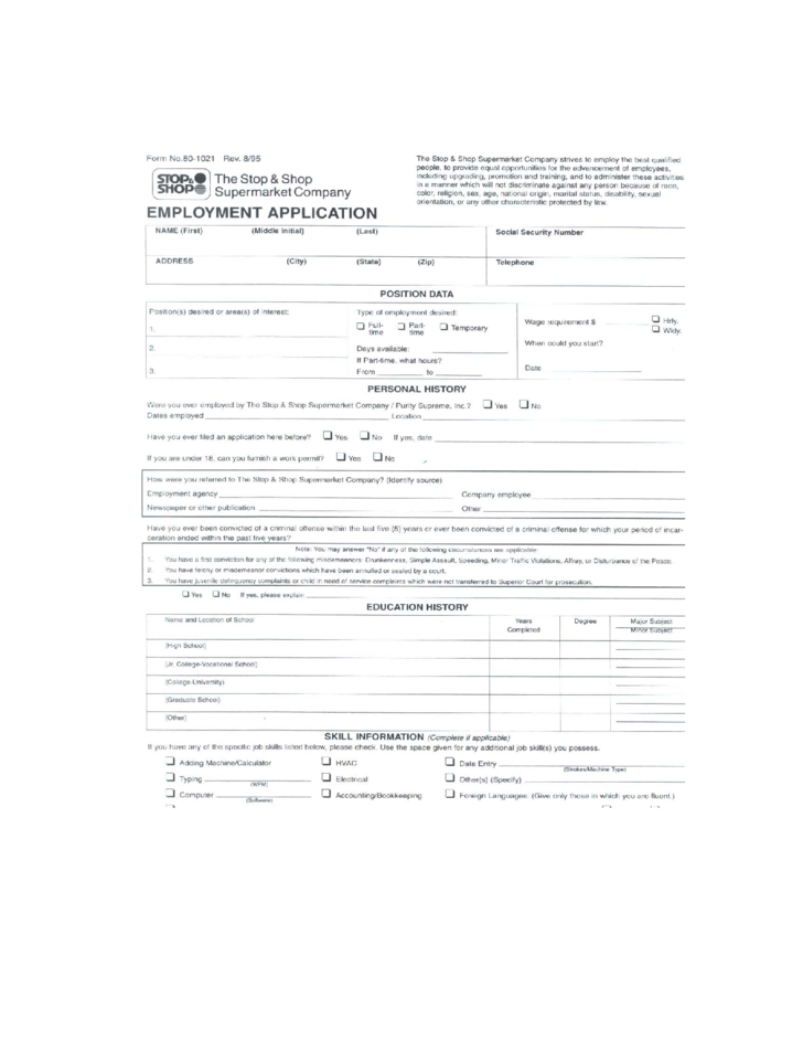 Stop And Shop Job Application Form Images Free Form Design Examples