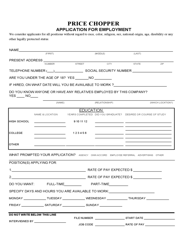price chopper application form for employment free download