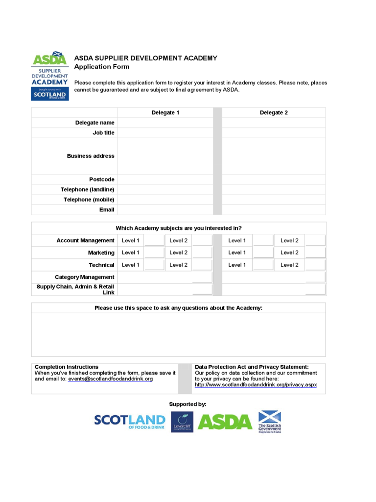 ASDA Job Application Job Form