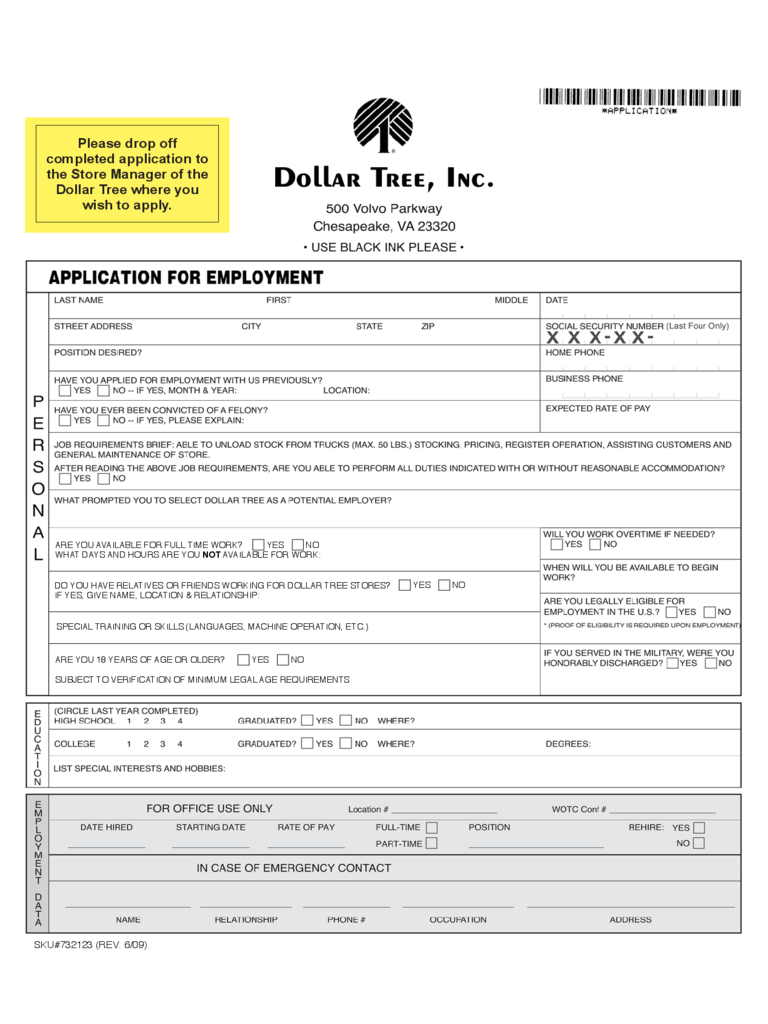 Dollar Tree Job Application Form to Employment