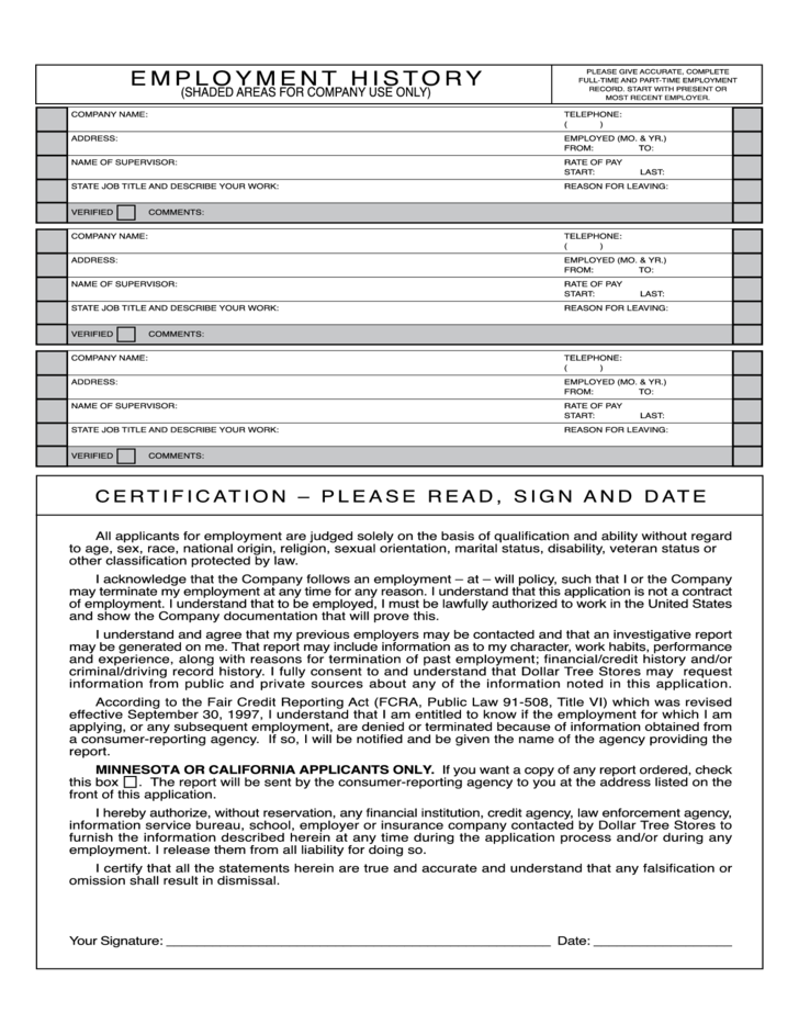dollar tree job application form to employment free download