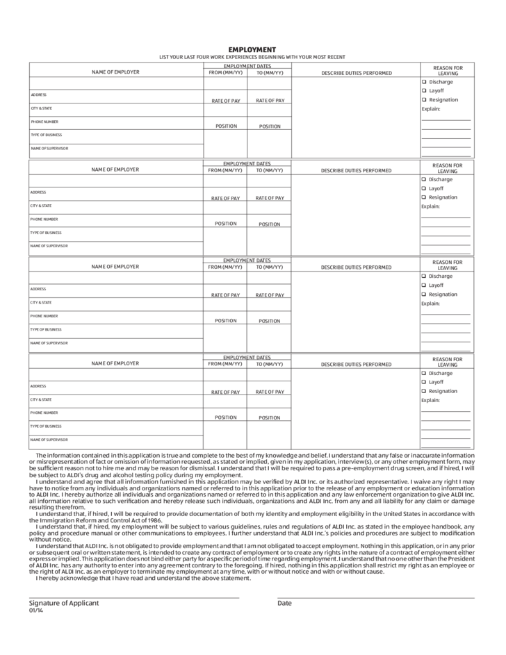 aldi-job-application-form-l2 Job Application Form Date on blank generic, free generic, part time,