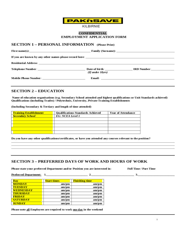 pak nsave employment application form free download