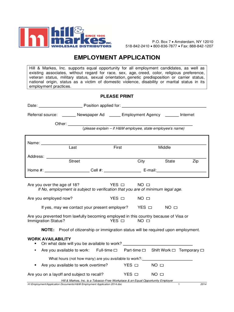 Hill & Markes Employment Application Form
