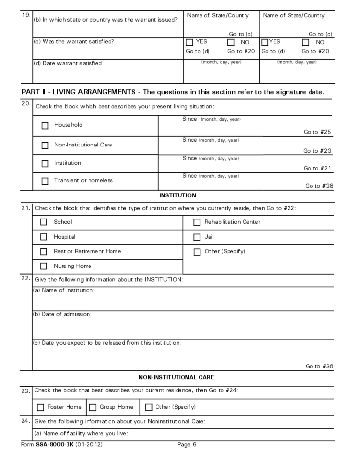 supplemental security income application sample free download