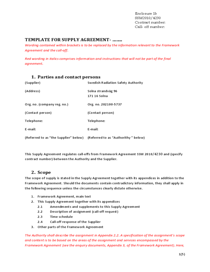 1 Template For Supply Agreement