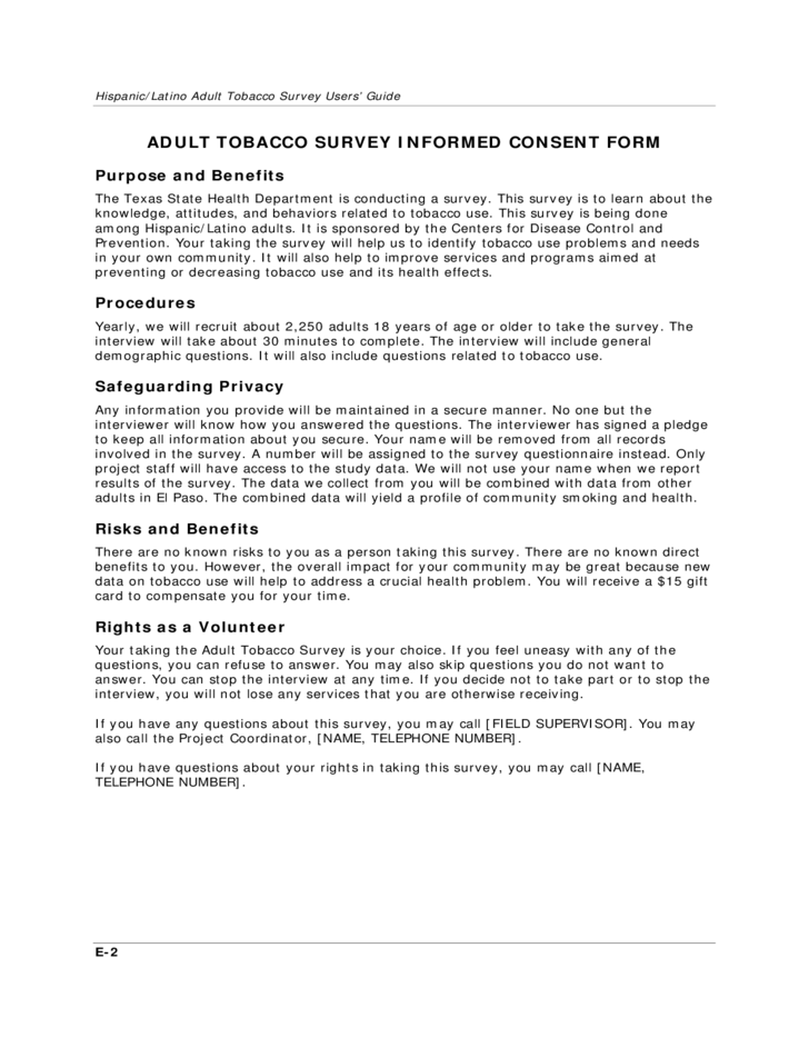 Survey Infomed Consent Form Free Download – Survey Consent Form