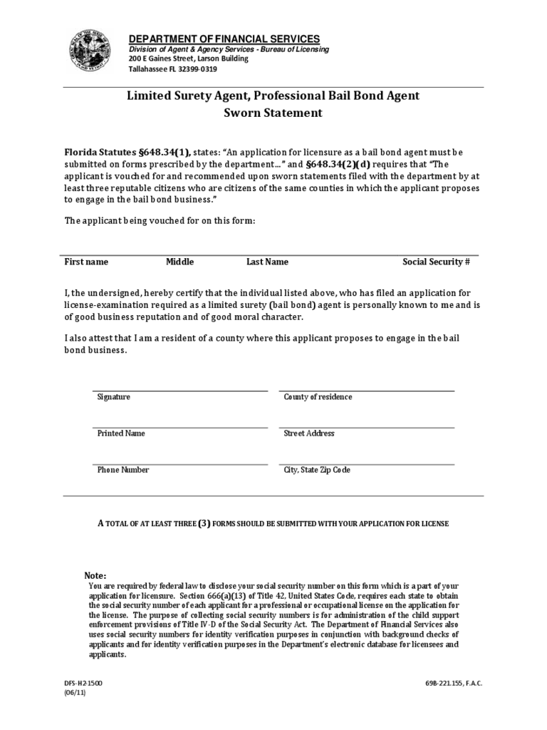 Sworn Statement Form   Florida