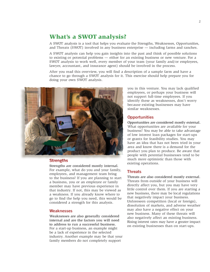 SWOT Analysis Brochure - USDA