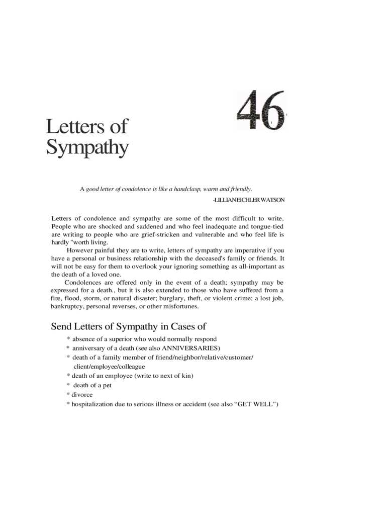 Letters of Sympathy Templates Free Download