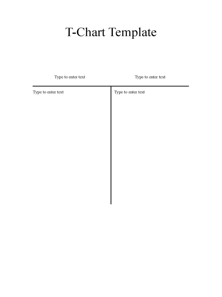 Blank T Chart Template  Free T Chart