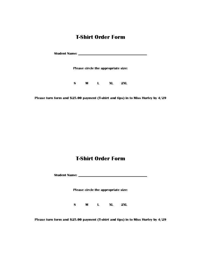 TShirt Order Form 6 Free Templates in PDF Word Excel Download – Free Order Form Template Word