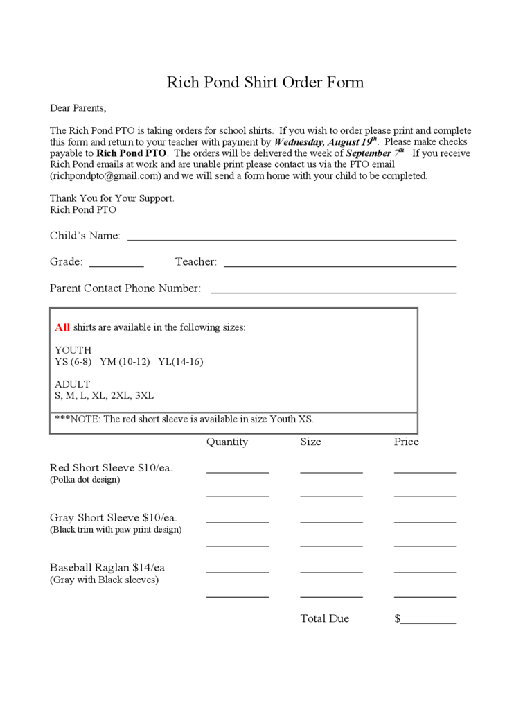 T Shirt Order Form – Order Form Layout