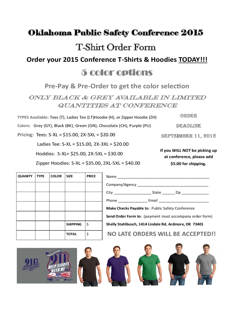 T-Shirt Order Form - 6 Free Templates in PDF, Word, Excel Download