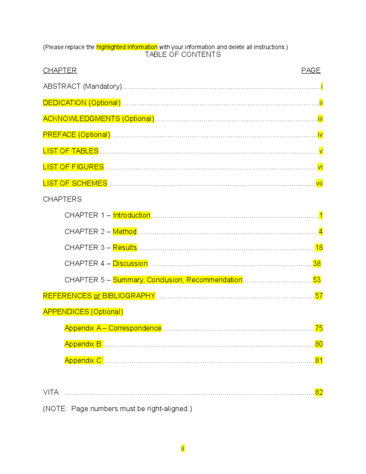 table of contents template sample free download