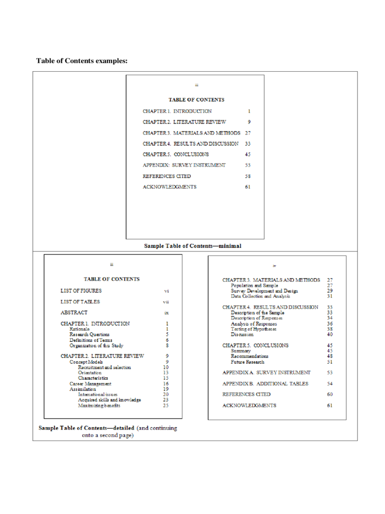 Table of Contents example - Iowa