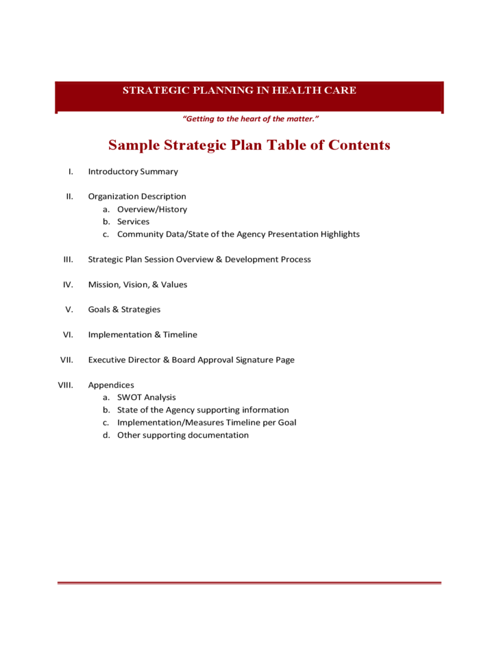 sample strategic plan table of contents free download