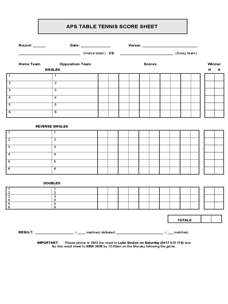 Blank Table Tennis Score Sheet