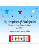 Talent Show Participation Certificate Template Free Download