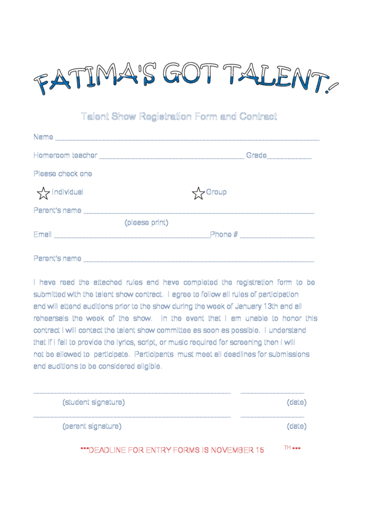 Talent Show Registration Form 2 Free Templates in PDF Word – Enrolment Form Template