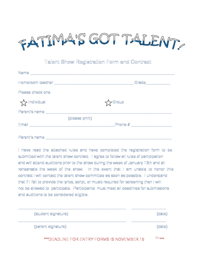 Sample registration Form for Talent Show Free Download – Sample Talent Show Score Sheet