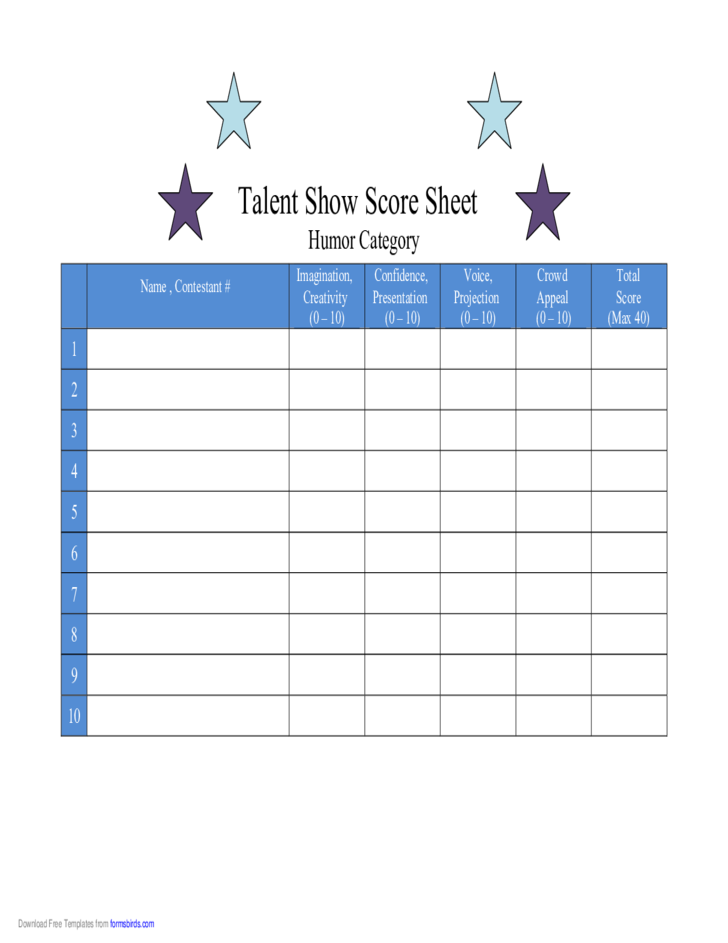Score Sheet for Talent Show Humor