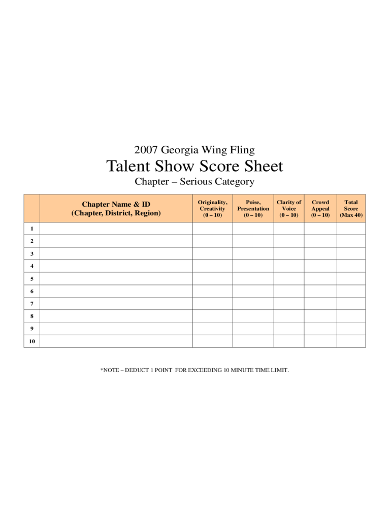 Talent Show Score Sheet 4 Free Templates in PDF Word Excel – Sample Talent Show Score Sheet