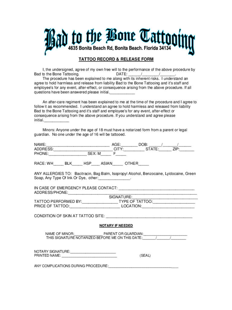 Tattoo liabilty waiver form 3 free templates in pdf for Tattoo release form template