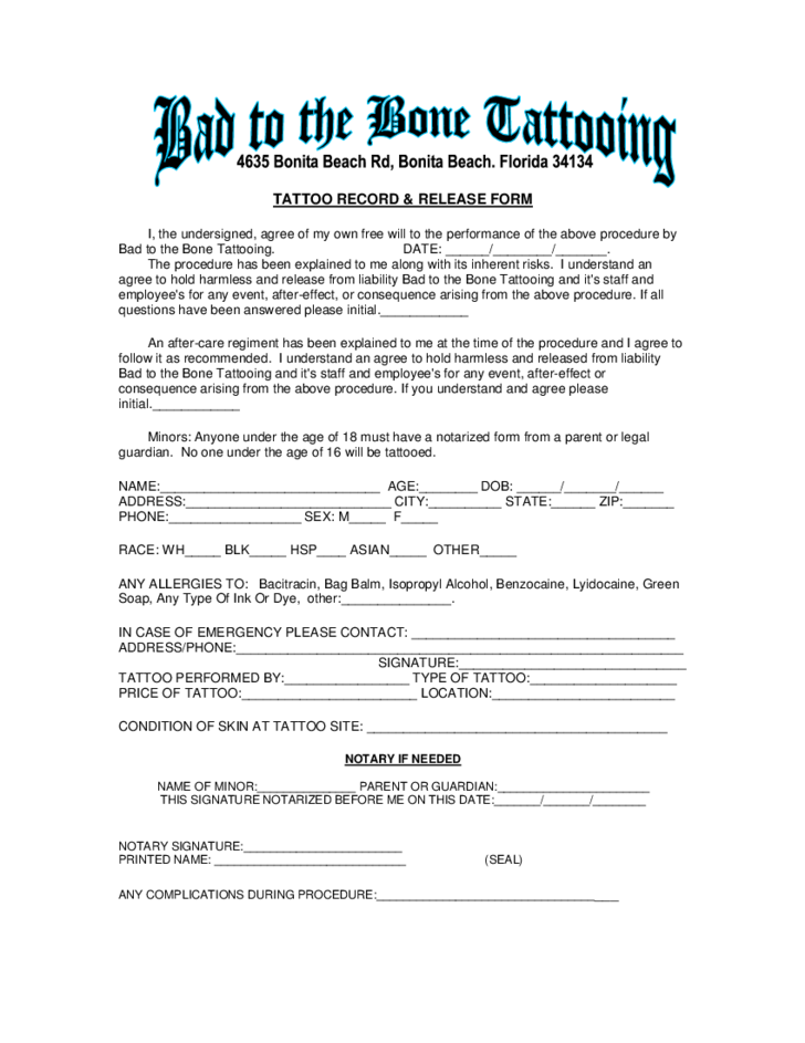 tattoo release form template - tattoo liabilty waiver form florida free download