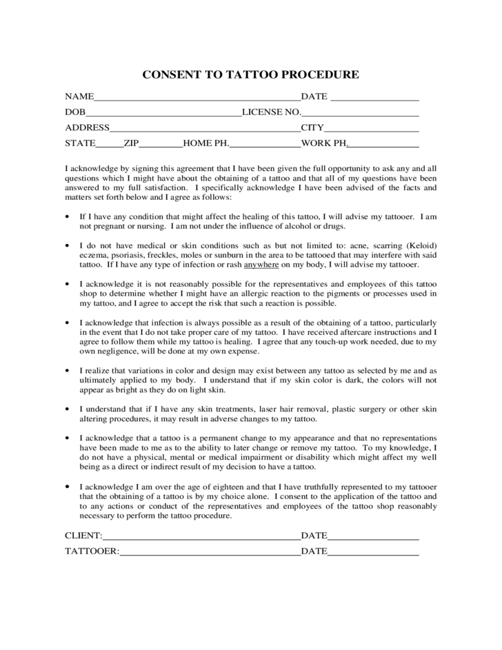 Consent to Tattoo Procedure Form Free Download – Tattoo Consent Forms