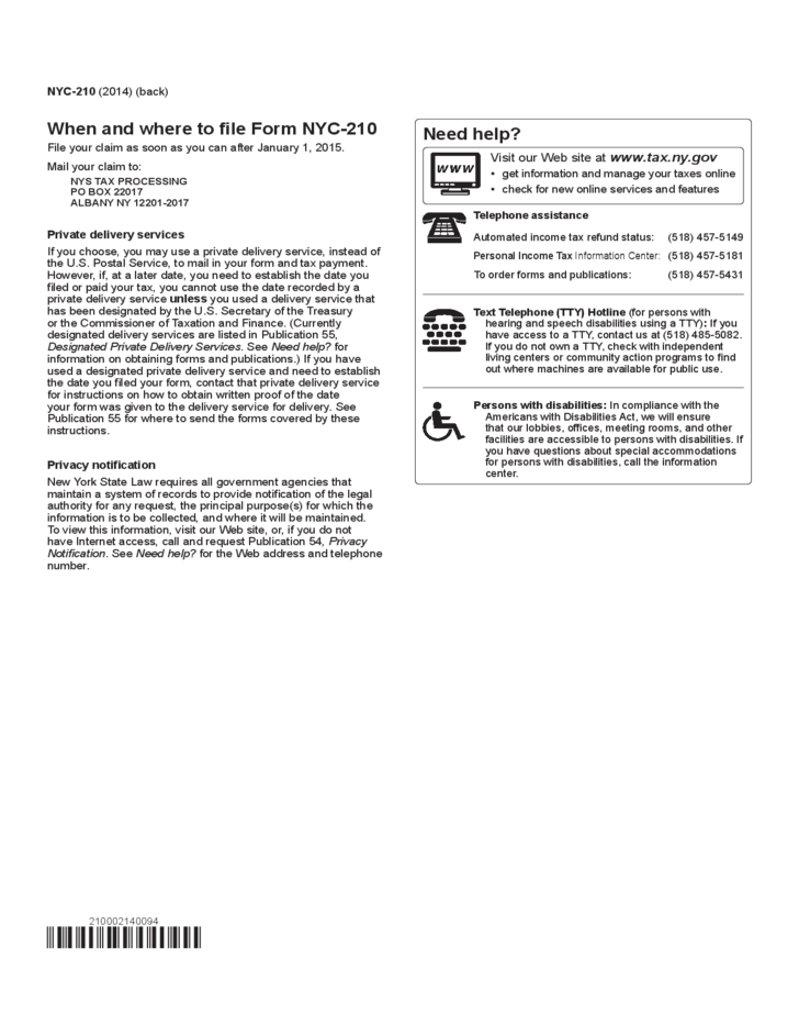 Claim for New York City School Tax Credit - New York Free Download