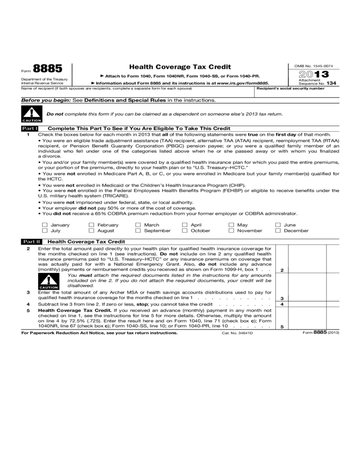 Form 8885 - Health Coverage Tax Credit (2013) Free Download