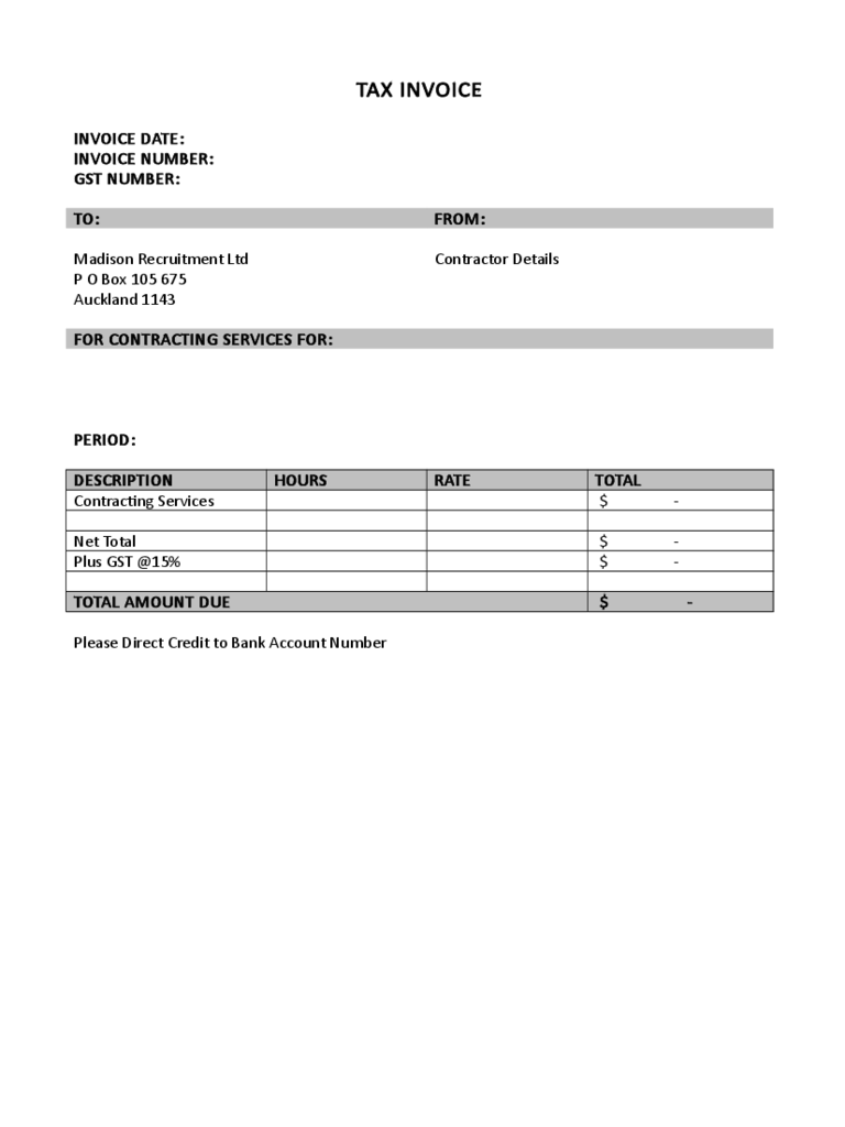Sample Tax Invoice Template Free Download