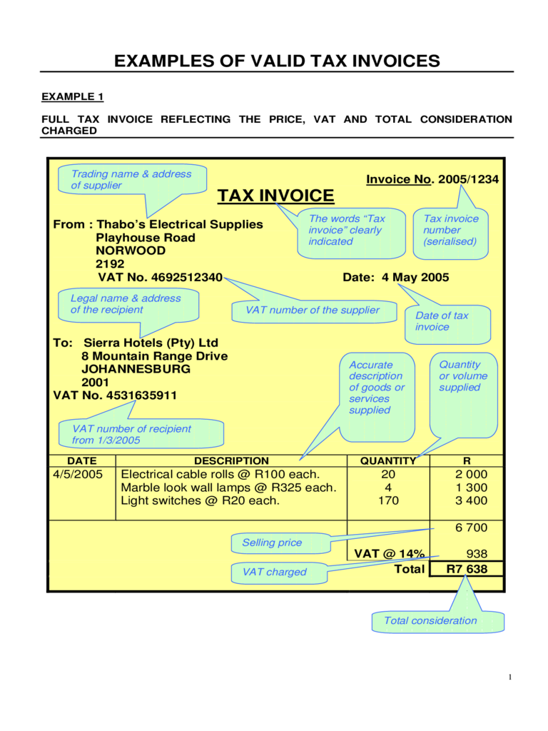 Examples of Valid Tax InvoiceTemplates