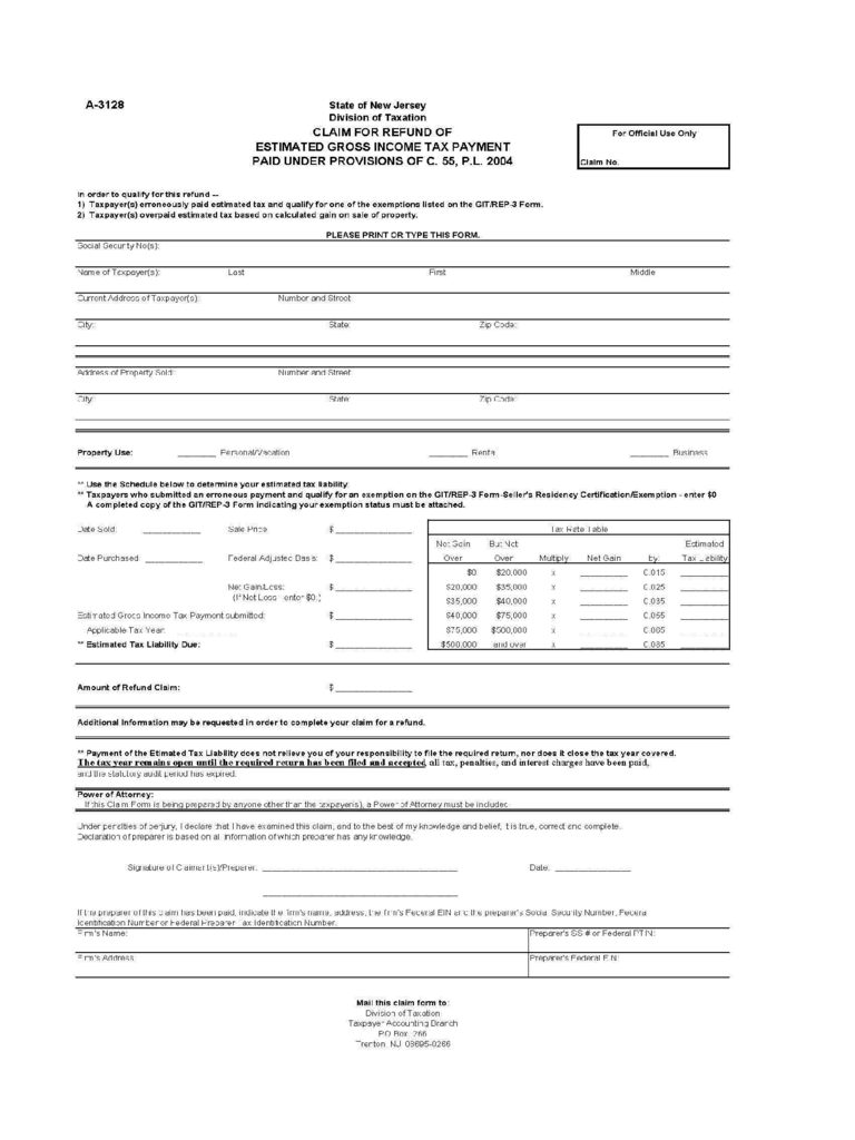 A-3128 Claim for Refund of Estimated Gross Income Tax Payment - New Jersey