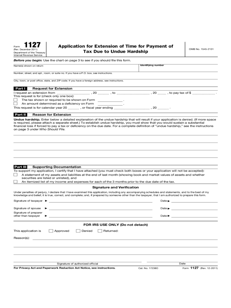 Application for Extension of Time for Payment of Tax Due to Undue Hardship