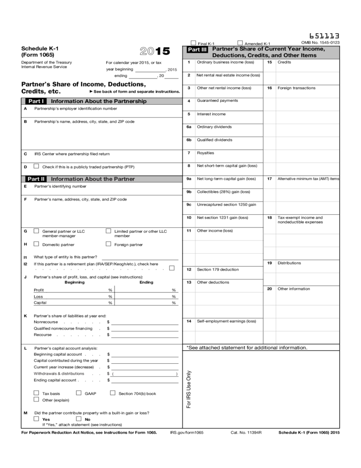 Form 1065 Schedule K 1 Partners Share Of Income Deductions And
