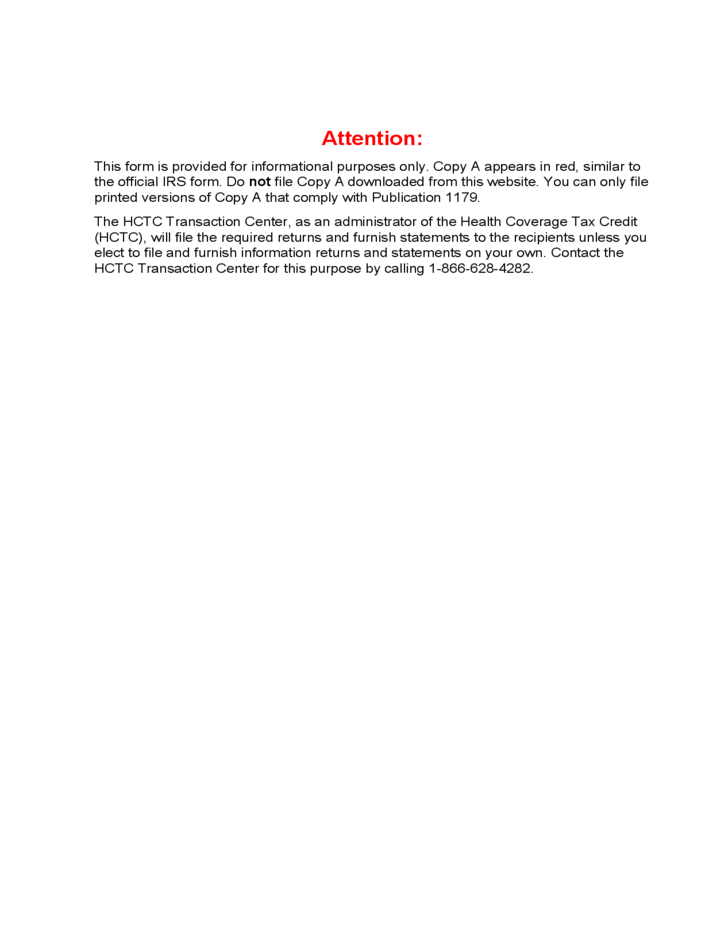 Form 1099 H Hctc Advance Payments 2012 Free Download