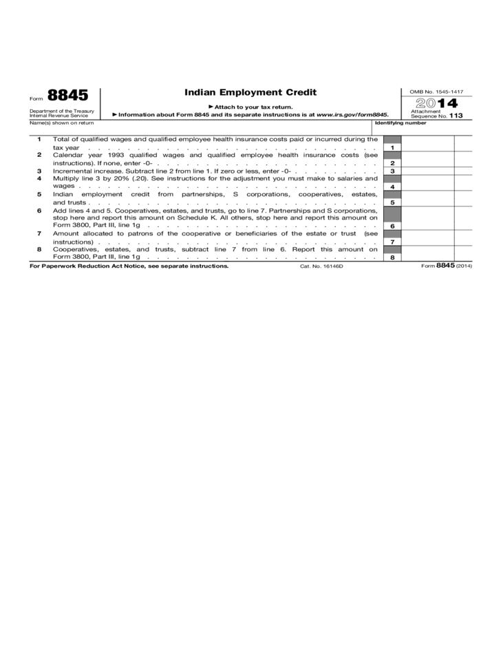 Form 8845 Indian Employment Credit 2015 Free Download