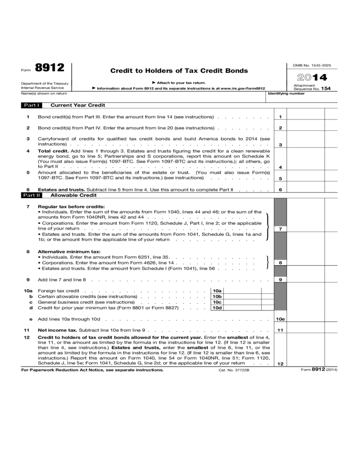 Form 8912 Credit To Holders Of Tax Credit Bonds 2014 Free Download